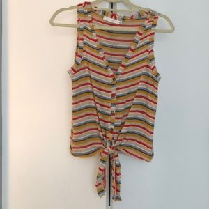 Striped Tank with front knot